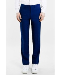 Topman Navy Textured Slim Fit Suit Trousers