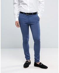 Asos Super Skinny Suit Pants In Denim Twist