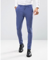 Asos Wedding Super Skinny Suit Pants In Deep Blue