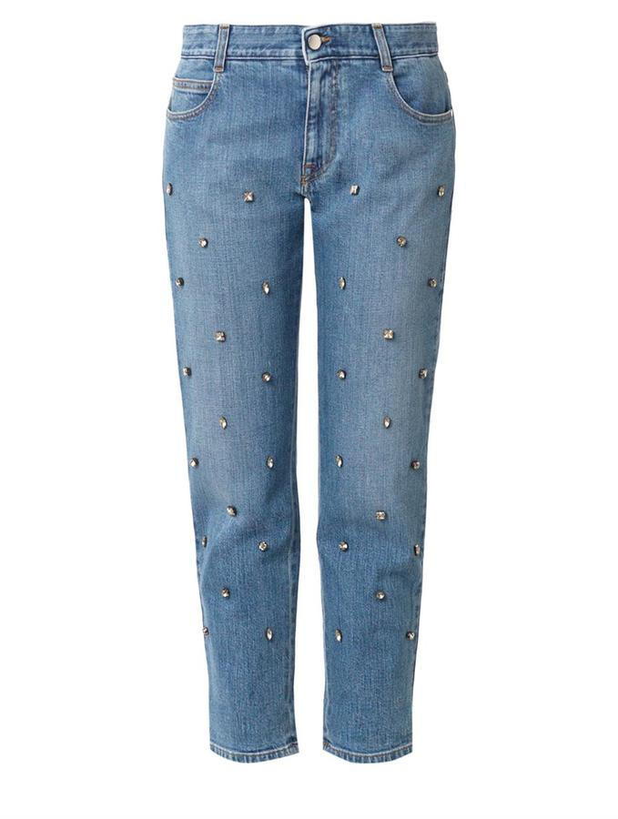 classic shoes super service boy £688, Stella McCartney Crystal Embellished Boyfriend Jeans