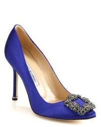 Blue Embellished Satin Pumps