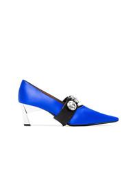 Marni Blue And Black Crystal Embellished 60 Satin Pumps