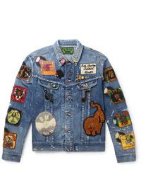 KAPITAL Bob Marley Appliqud Embellished Distressed Denim Jacket