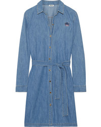 Kenzo Embroidered Washed Denim Shirt Dress Mid Denim
