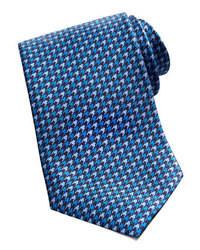Brioni Houndstooth Silk Tie Blue