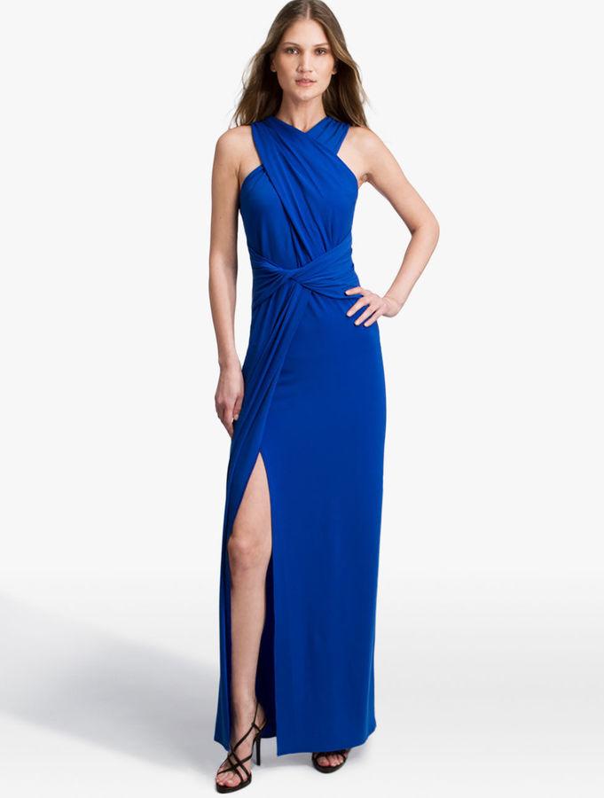 Halston Heritage Twist Jersey Gown Bright Cobalt | Where to buy ...