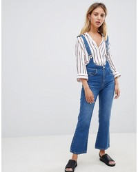 ASOS DESIGN Egerton Rigid Cropped Flare Jeans In Mid Wash With Braces