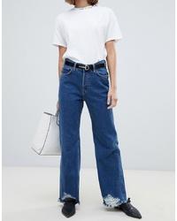 Mango Raw Hem Wide Leg Jeans