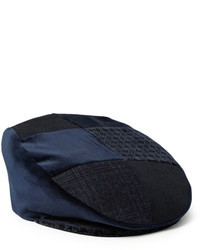 Patchwork velvet and cotton blend flat cap medium 91150