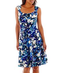 Blue Floral Casual Dress
