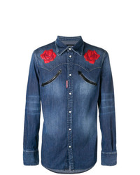 DSQUARED2 Flower Denim Shirt