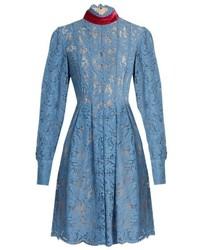 MSGM Tie Neck Floral Lace Dress