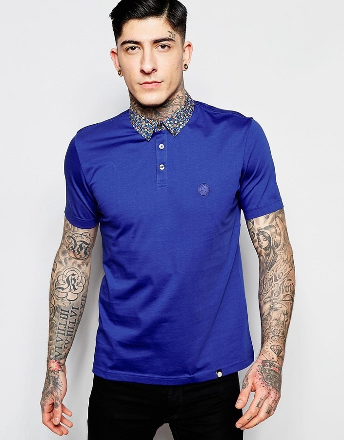 ... Pretty Green Polo Shirt With Floral Collar In Slim Fit Navy ...