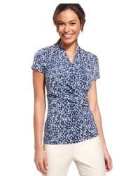 Blue Floral Short Sleeve Button Down Shirt