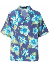 Blue Floral Short Sleeve Shirt