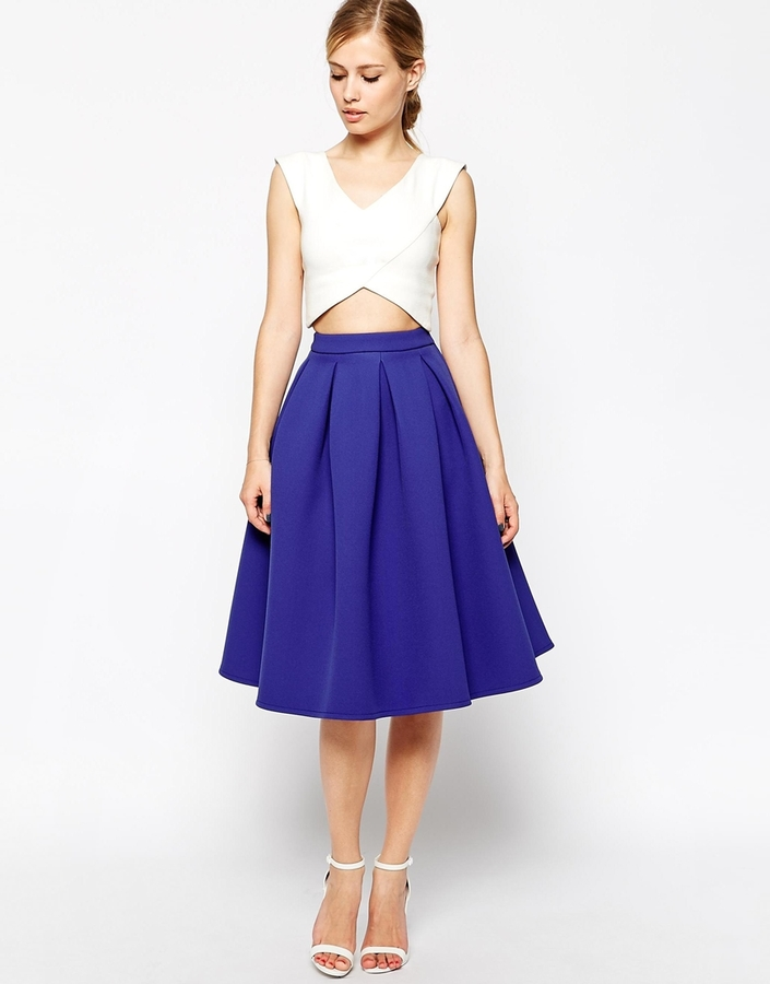 Asos Premium Prom Midi Skirt In Bonded Crepe | Where to buy & how ...