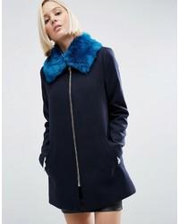 Faux fur collar in bright blue medium 1055008