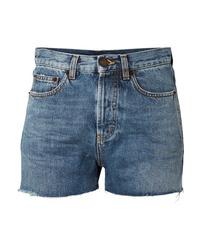 Blue Geometric Denim Shorts