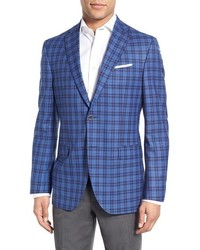 David Donahue Classic Fit Plaid Wool Sport Coat