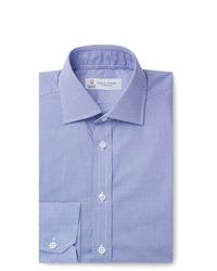 Turnbull & Asser Navy Slim Fit Cutaway Collar Micro Gingham Cotton Poplin Shirt
