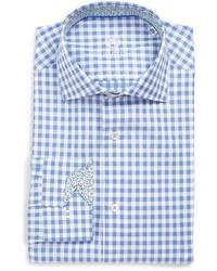 Bugatchi Trim Fit Gingham Plaid Dress Shirt