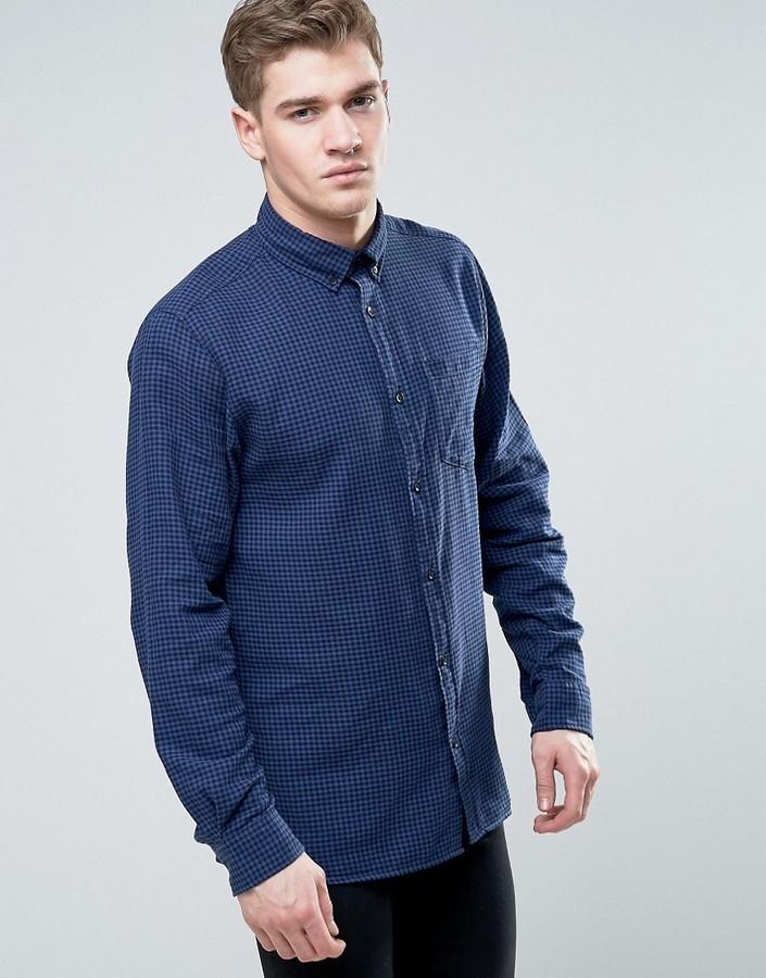 323d273672 ... Jack and Jones Jack Jones Originals Long Sleeve Slim Fit Shirt In  Gingham Check With Pocket ...