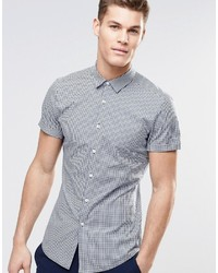 Asos Brand Skinny Shirt In Navy Gingham Check With Short Sleeves