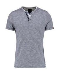 Pktgms fake split neck print t shirt navy blazer medium 4158761