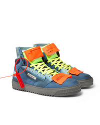 Off-White Off Court Suede Leather And Canvas High Top Sneakers