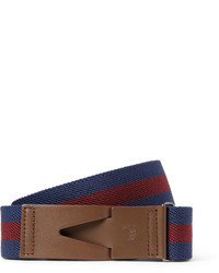 Tod's 35cm Leather Trimmed Striped Canvas Belt