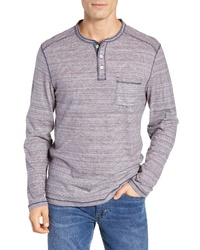 Blue Horizontal Striped Long Sleeve Henley Shirt