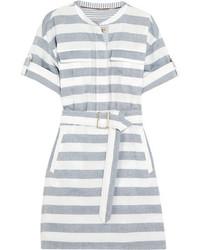 Burberry Belted Striped Cotton Shirt Dress Navy