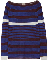 Tod's Striped Stretch Knit Sweater Cobalt Blue