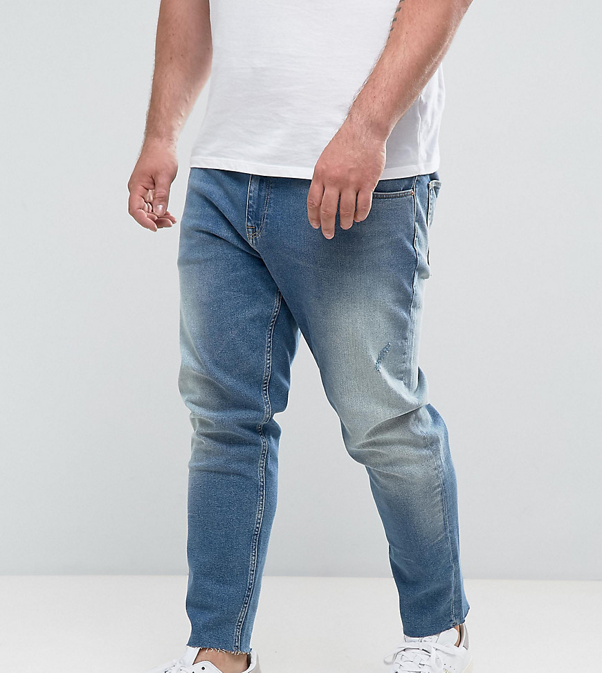 ASOS DESIGN Asos Plus Slim Jeans In Vintage Mid Wash With Abrasions