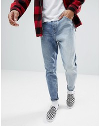 ASOS DESIGN Asos Tapered Jeans In Two Tone Mid Wash