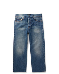 Balenciaga Cropped Distressed Denim Jeans