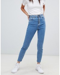 ASOS DESIGN Farleigh High Waist Slim Mom Jeans In Aged Light Stonewash Blue With Exposed Fly Detail