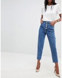 J Brand Heather Exposed Button High Rise Straight Jeans