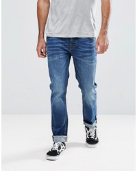 Hoxton Denim Slim Fit Jeans In Mid Wash Blue