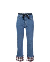Isa Arfen Tartan Trim Jeans