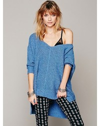 Blue Knit Oversized Sweater