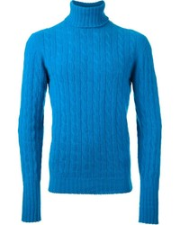 Blue Knit Turtleneck
