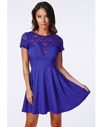 Blue Lace Skater Dress