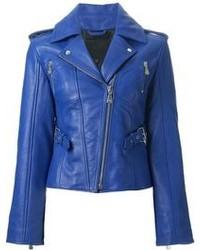 Blue Leather Biker Jacket