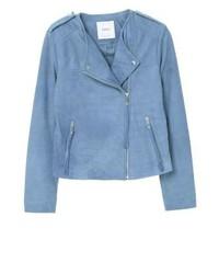 Mango Apple Leather Jacket Sky Blue