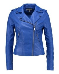 Miss Selfridge Debbie Faux Leather Jacket Cobalt