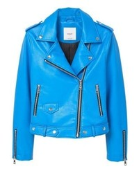 Mango Liz Faux Leather Jacket Blue