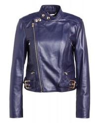 Ralph Lauren Moto Leather Jacket Nautical Blue