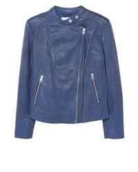 Mango Nico Leather Jacket Vibrant Blue