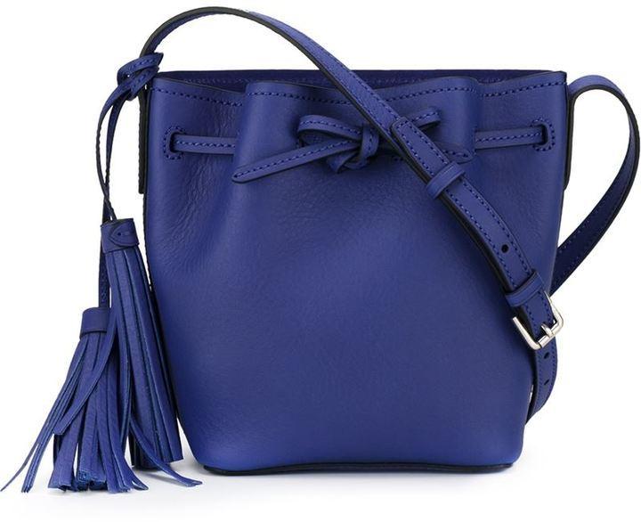 Mini Bucket Bag. Blue Leather Bucket Bag by Polo Ralph Lauren 9070062ee8092